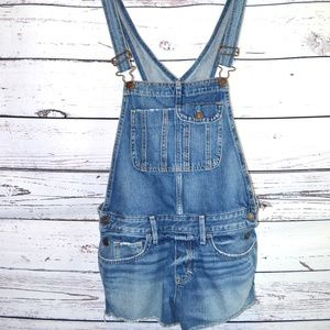 Abercrombie & Fitch Distressed Denim Overall Short